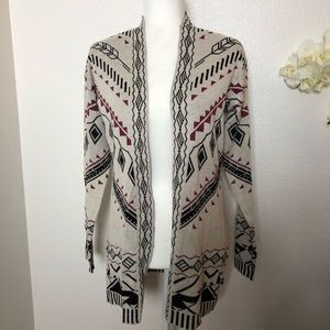 Pink Republic Tribal Print Open Front Cardigan